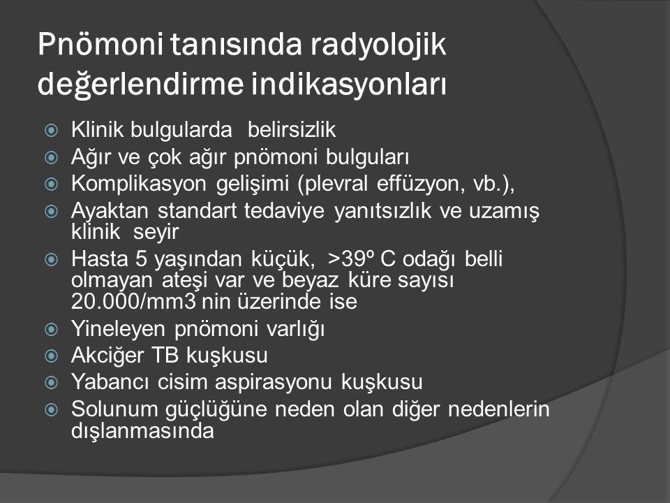 Pnömoni tanısında radyolojik değerlendirme indikasyonları