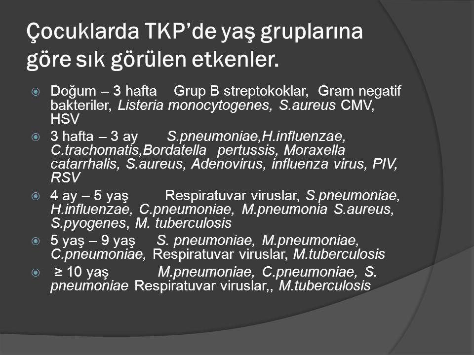 Çocuklarda TKP'de yaş gruplarına göre sık görülen etkenler.