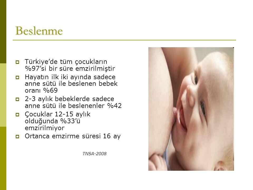 Beslenme Türkiye'de tüm çocukların %97'si bir süre emzirilmiştir