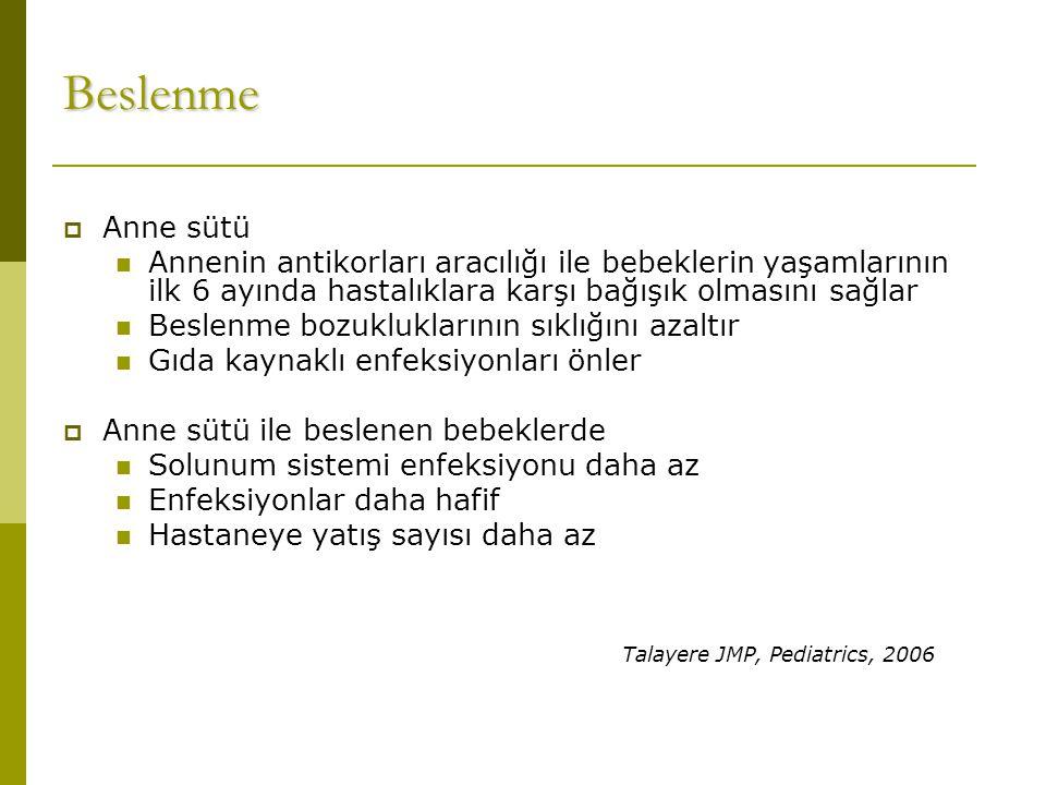 Beslenme Talayere JMP, Pediatrics, 2006 Anne sütü