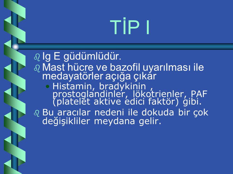 TİP I Ig E güdümlüdür. Mast hücre ve bazofil uyarılması ile medayatörler açığa çıkar.