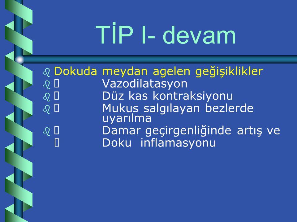 TİP I- devam Dokuda meydan agelen geğişiklikler Ø Vazodilatasyon
