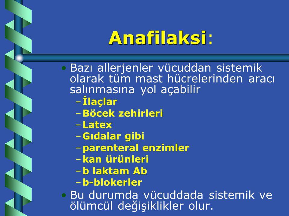 Anafilaksi: Bazı allerjenler vücuddan sistemik olarak tüm mast hücrelerinden aracı salınmasına yol açabilir.