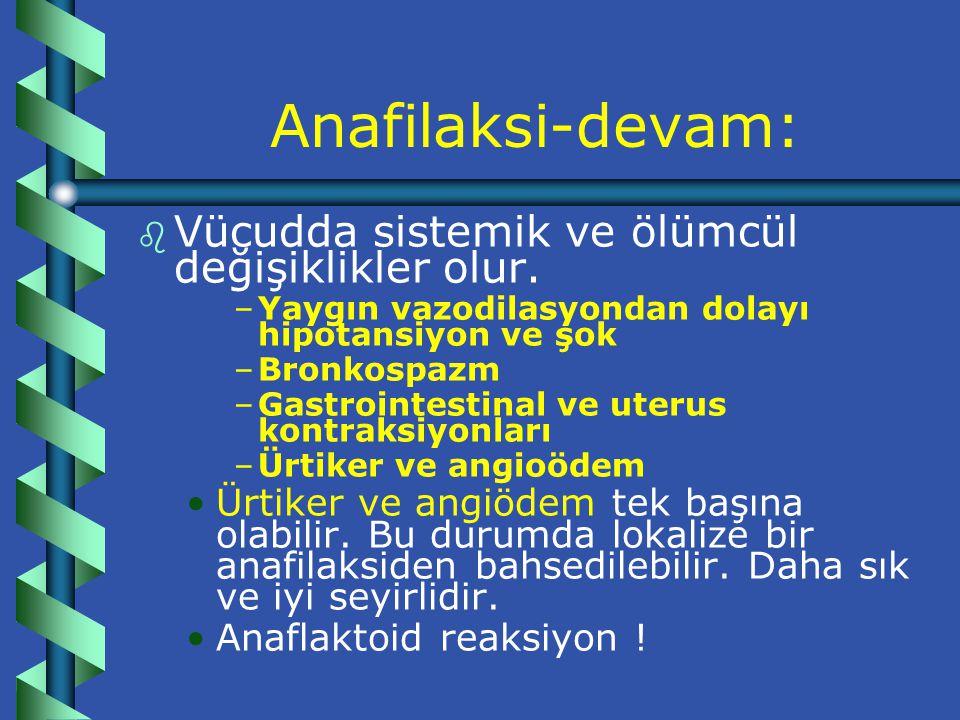 Anafilaksi-devam: Vücudda sistemik ve ölümcül değişiklikler olur.