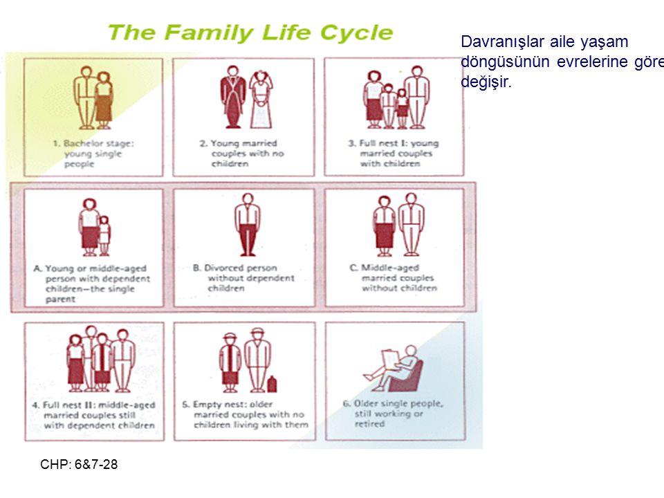 Davranışlar aile yaşam döngüsünün evrelerine göre değişir.
