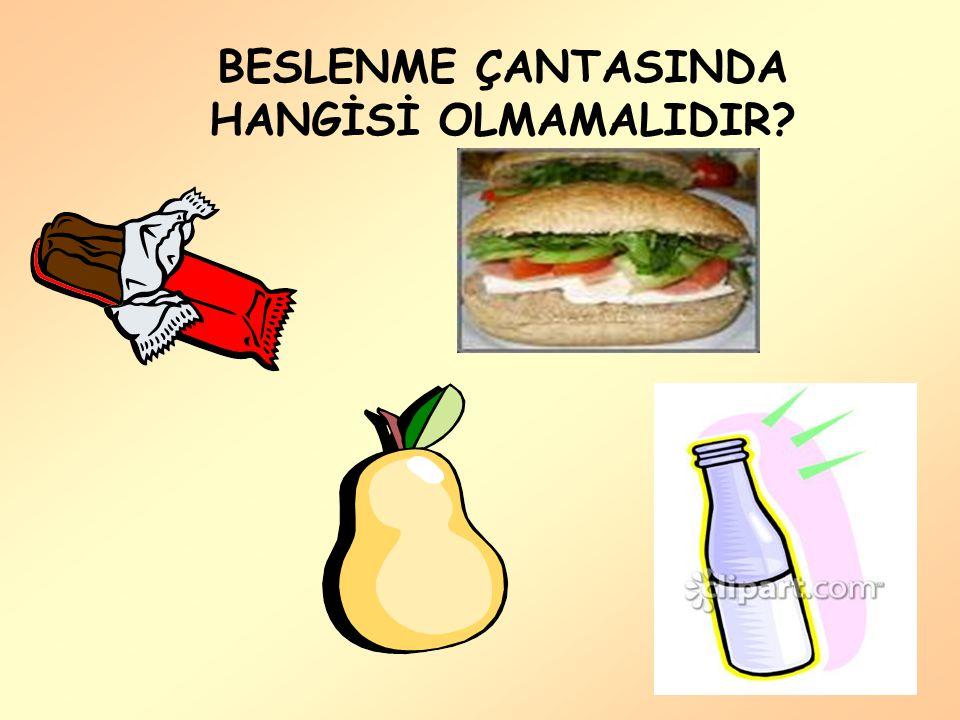 BESLENME ÇANTASINDA HANGİSİ OLMAMALIDIR