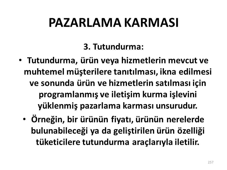 PAZARLAMA KARMASI 3. Tutundurma: