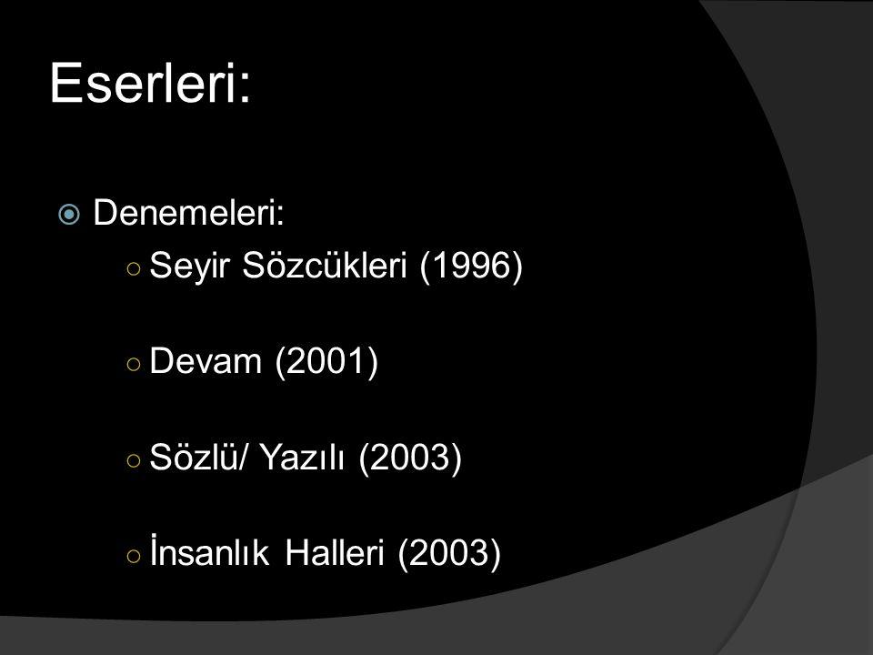 Eserleri: Denemeleri: Seyir Sözcükleri (1996) Devam (2001)