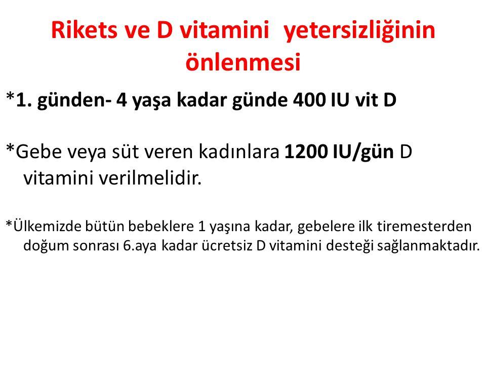 Rikets ve D vitamini yetersizliğinin önlenmesi