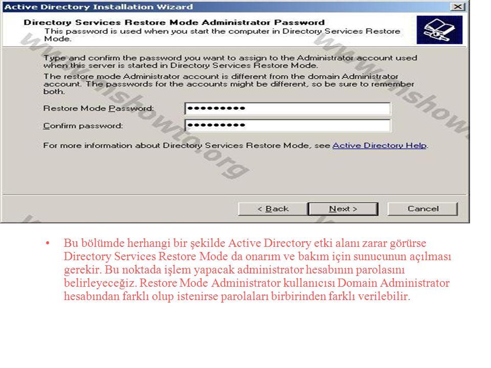 Bu bölümde herhangi bir şekilde Active Directory etki alanı zarar görürse Directory Services Restore Mode da onarım ve bakım için sunucunun açılması gerekir.