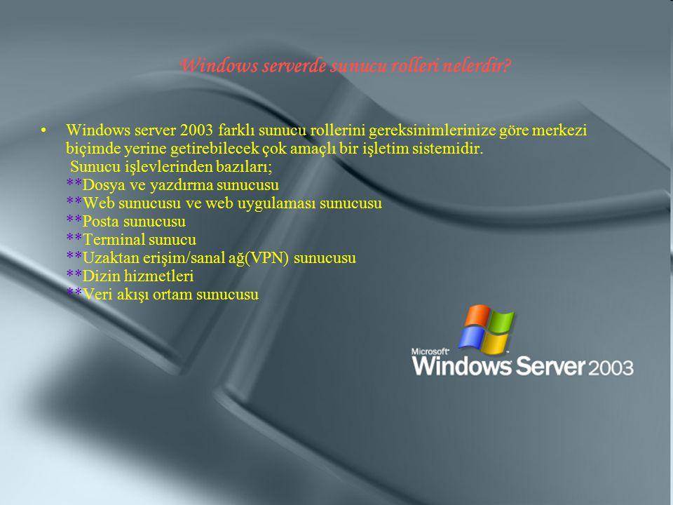 Windows serverde sunucu rolleri nelerdir