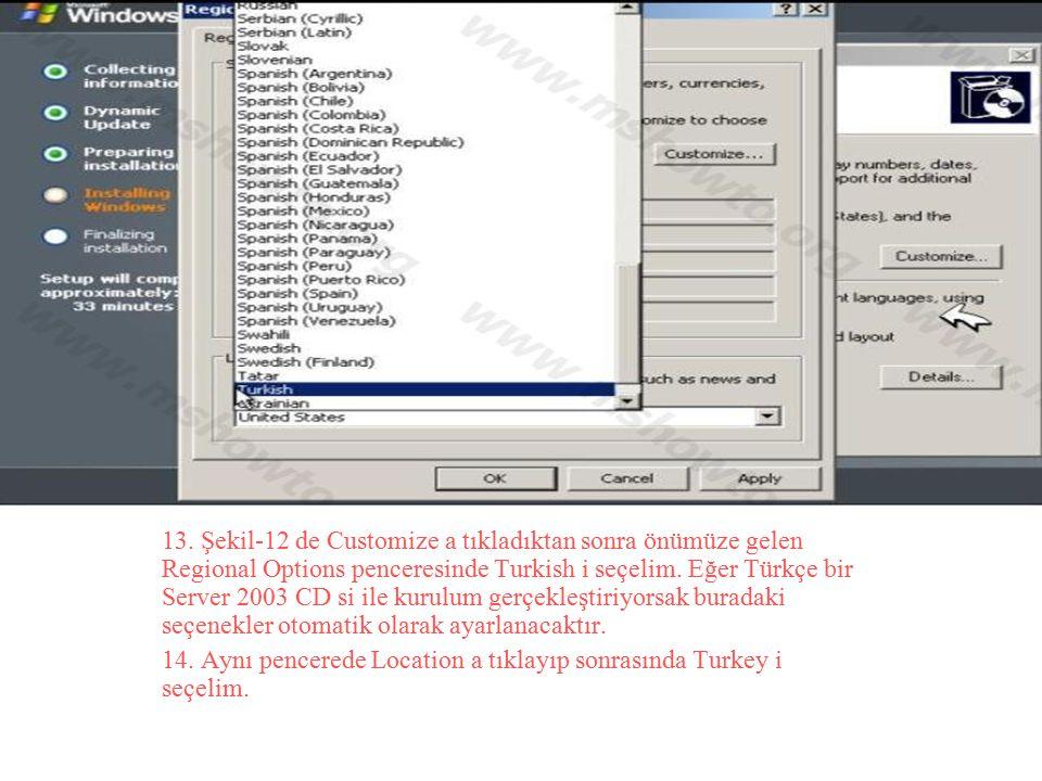 13. Şekil-12 de Customize a tıkladıktan sonra önümüze gelen Regional Options penceresinde Turkish i seçelim. Eğer Türkçe bir Server 2003 CD si ile kurulum gerçekleştiriyorsak buradaki seçenekler otomatik olarak ayarlanacaktır.