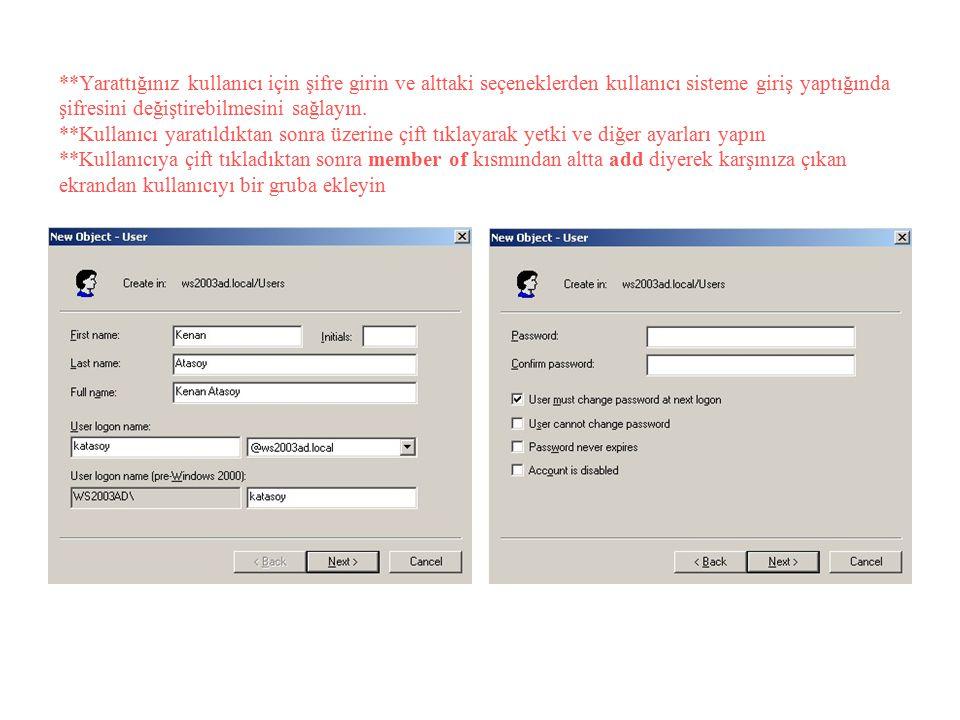 **Yarattığınız kullanıcı için şifre girin ve alttaki seçeneklerden kullanıcı sisteme giriş yaptığında şifresini değiştirebilmesini sağlayın.