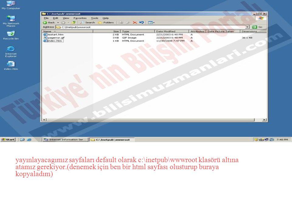 yayınlayacagımız sayfaları default olarak c:\inetpub\wwwroot klasörü altına atamız gerekiyor.(denemek için ben bir html sayfası olusturup buraya kopyaladım)