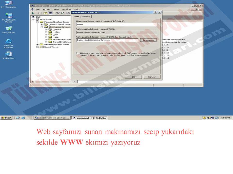 Web sayfamızı sunan makınamızı secıp yukarıdakı sekılde WWW ekımızı yazıyoruz