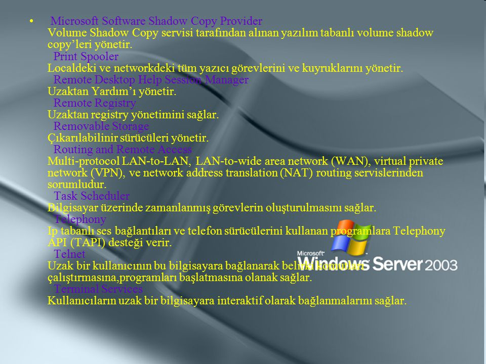 Microsoft Software Shadow Copy Provider Volume Shadow Copy servisi tarafından alınan yazılım tabanlı volume shadow copy'leri yönetir.