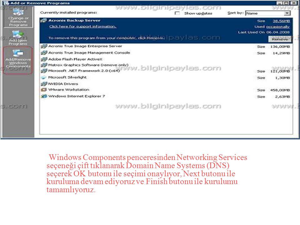 Windows Components penceresinden Networking Services seçeneği çift tıklanarak Domain Name Systems (DNS) seçerek OK butonu ile seçimi onaylıyor, Next butonu ile kuruluma devam ediyoruz ve Finish butonu ile kurulumu tamamlıyoruz.