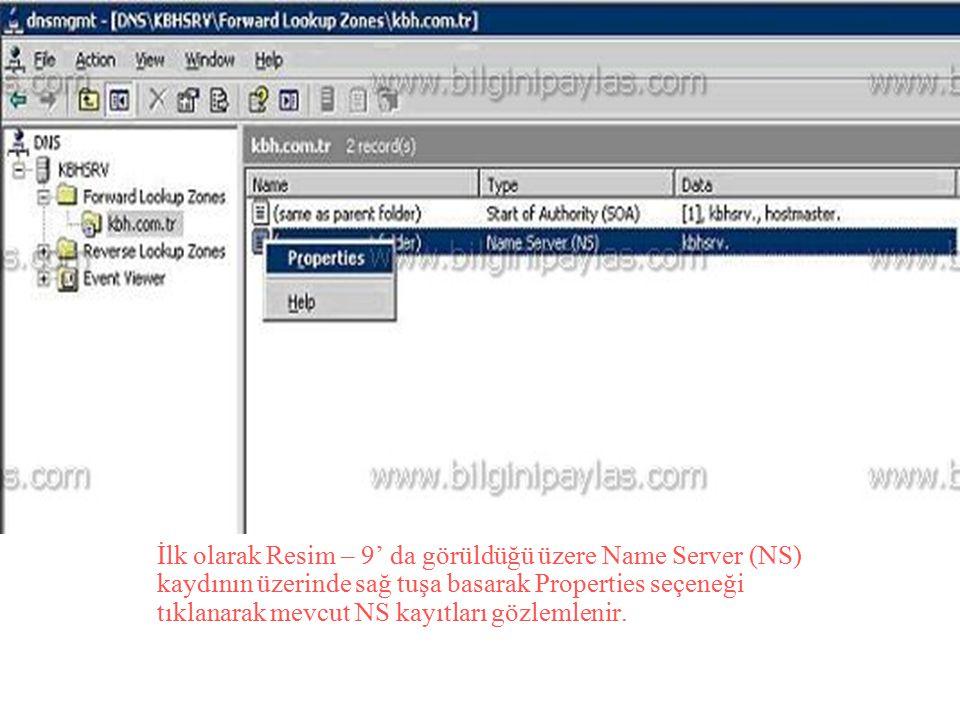 İlk olarak Resim – 9' da görüldüğü üzere Name Server (NS) kaydının üzerinde sağ tuşa basarak Properties seçeneği tıklanarak mevcut NS kayıtları gözlemlenir.