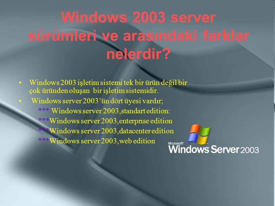 Windows 2003 server sürümleri ve arasındaki farklar nelerdir