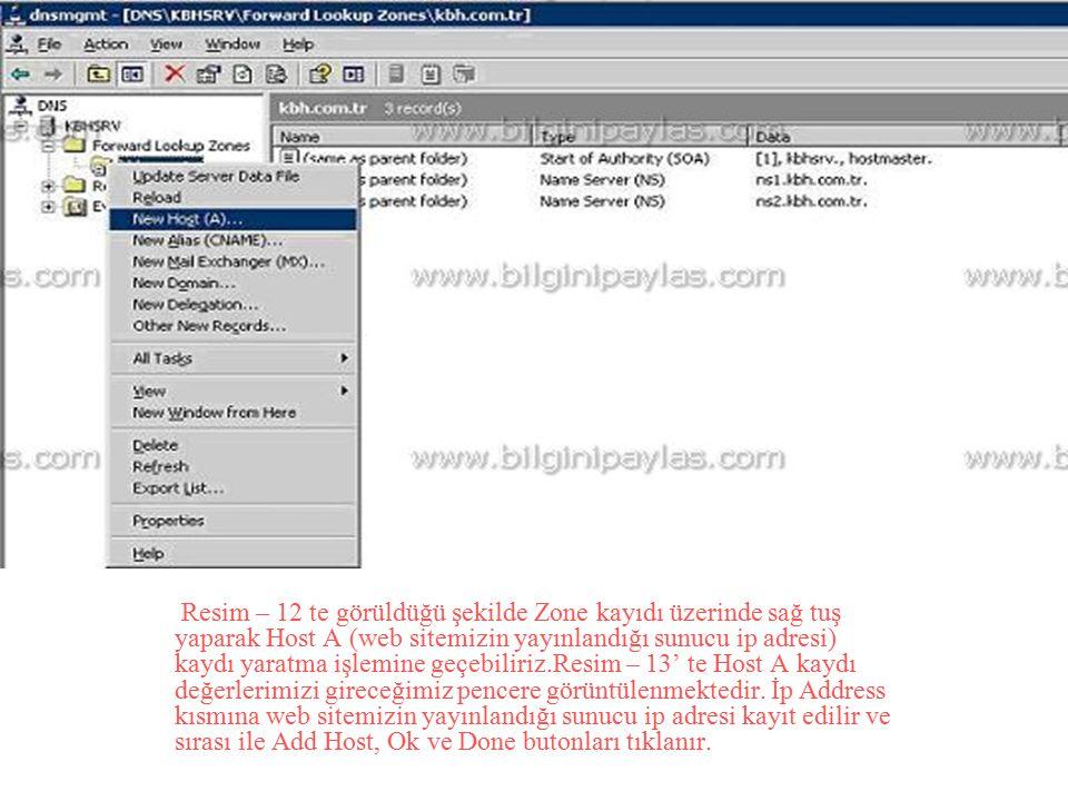 Resim – 12 te görüldüğü şekilde Zone kayıdı üzerinde sağ tuş yaparak Host A (web sitemizin yayınlandığı sunucu ip adresi) kaydı yaratma işlemine geçebiliriz.Resim – 13' te Host A kaydı değerlerimizi gireceğimiz pencere görüntülenmektedir.