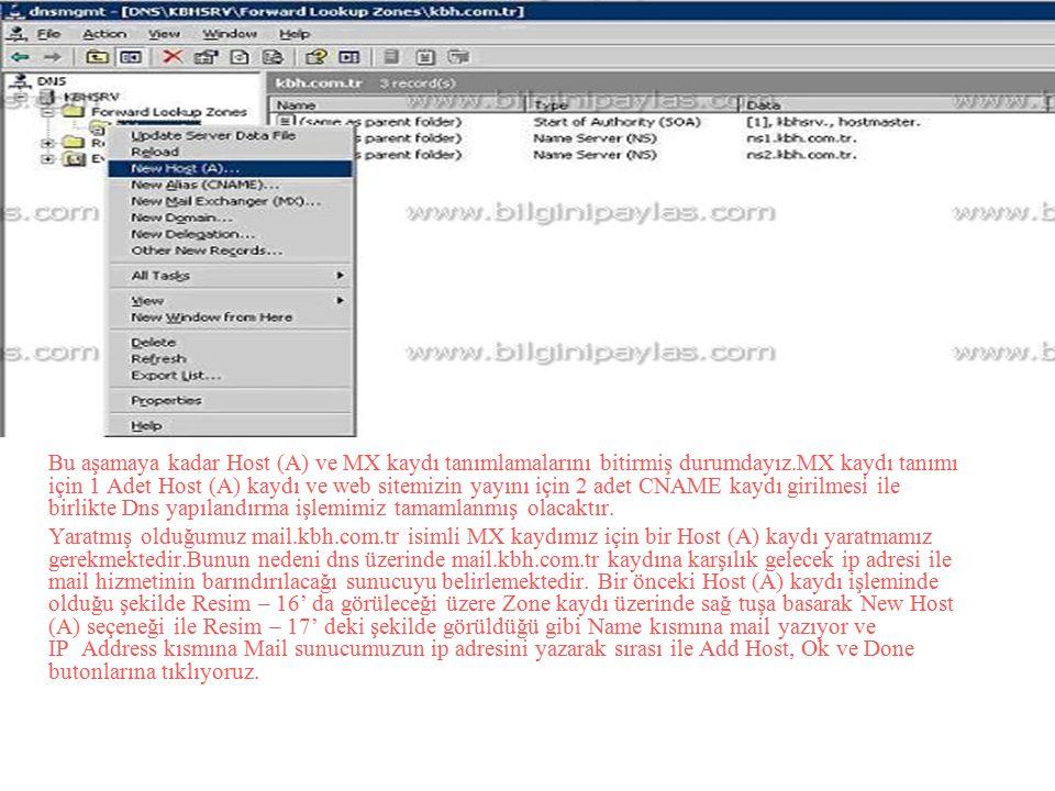 Bu aşamaya kadar Host (A) ve MX kaydı tanımlamalarını bitirmiş durumdayız.MX kaydı tanımı için 1 Adet Host (A) kaydı ve web sitemizin yayını için 2 adet CNAME kaydı girilmesi ile birlikte Dns yapılandırma işlemimiz tamamlanmış olacaktır.