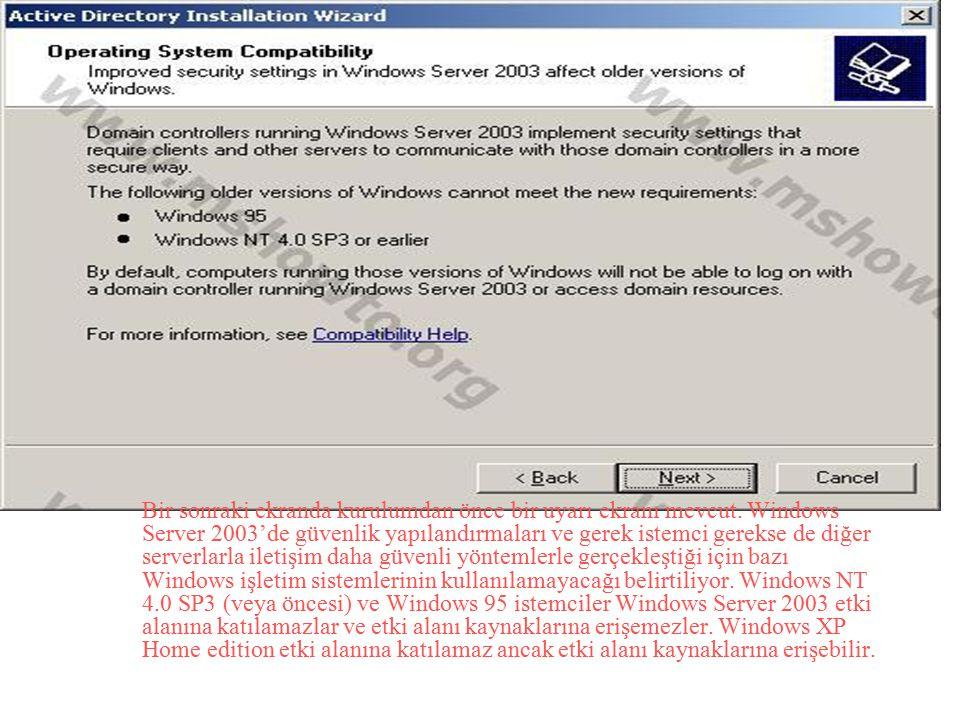 Bir sonraki ekranda kurulumdan önce bir uyarı ekranı mevcut