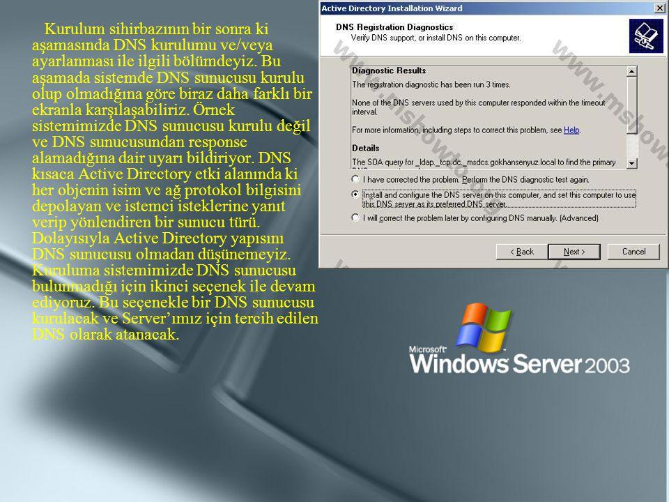 Kurulum sihirbazının bir sonra ki aşamasında DNS kurulumu ve/veya ayarlanması ile ilgili bölümdeyiz.
