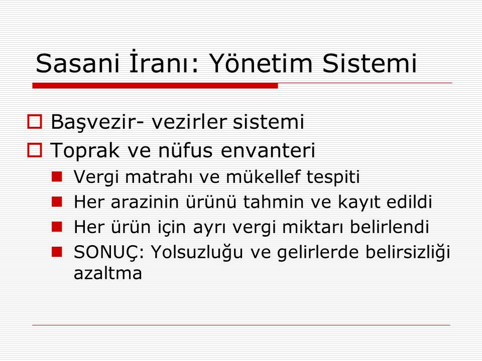 Sasani İranı: Yönetim Sistemi