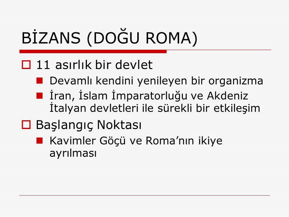BİZANS (DOĞU ROMA) 11 asırlık bir devlet Başlangıç Noktası