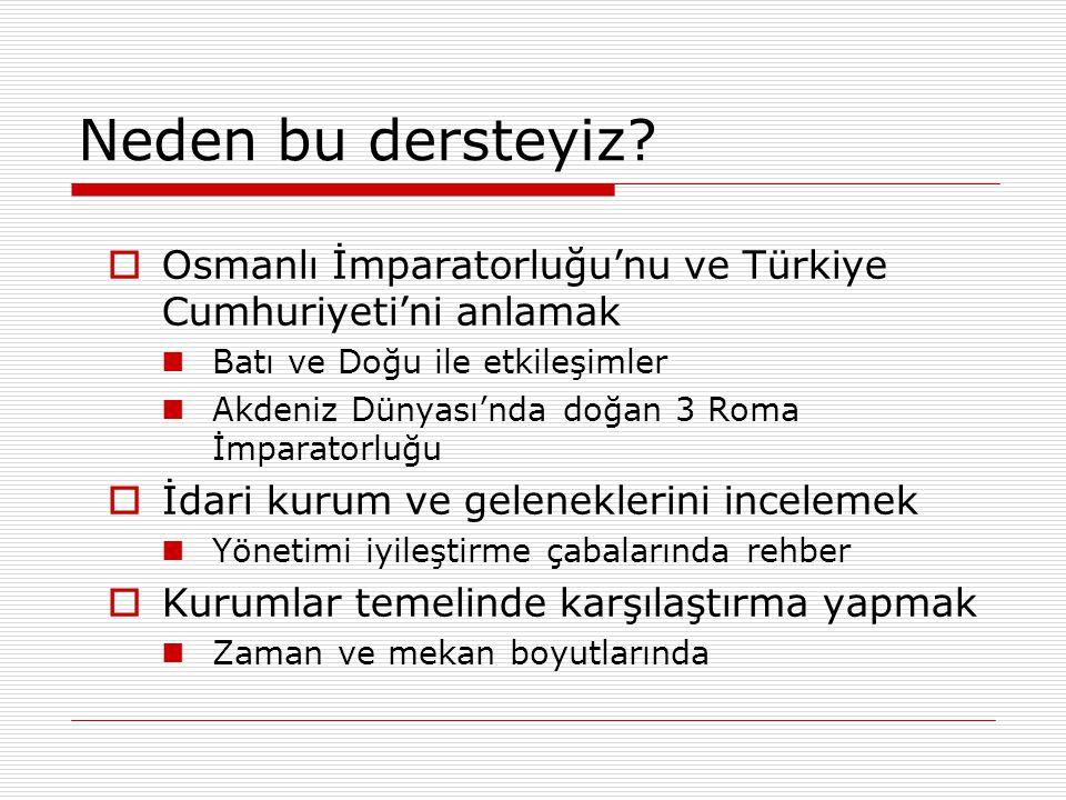 Neden bu dersteyiz Osmanlı İmparatorluğu'nu ve Türkiye Cumhuriyeti'ni anlamak. Batı ve Doğu ile etkileşimler.