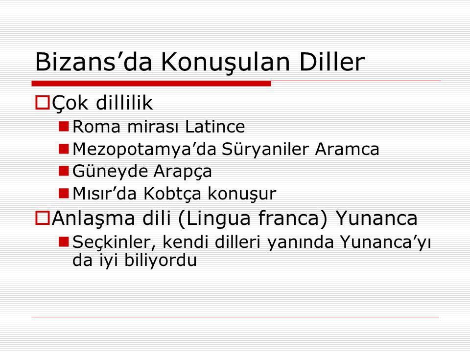 Bizans'da Konuşulan Diller