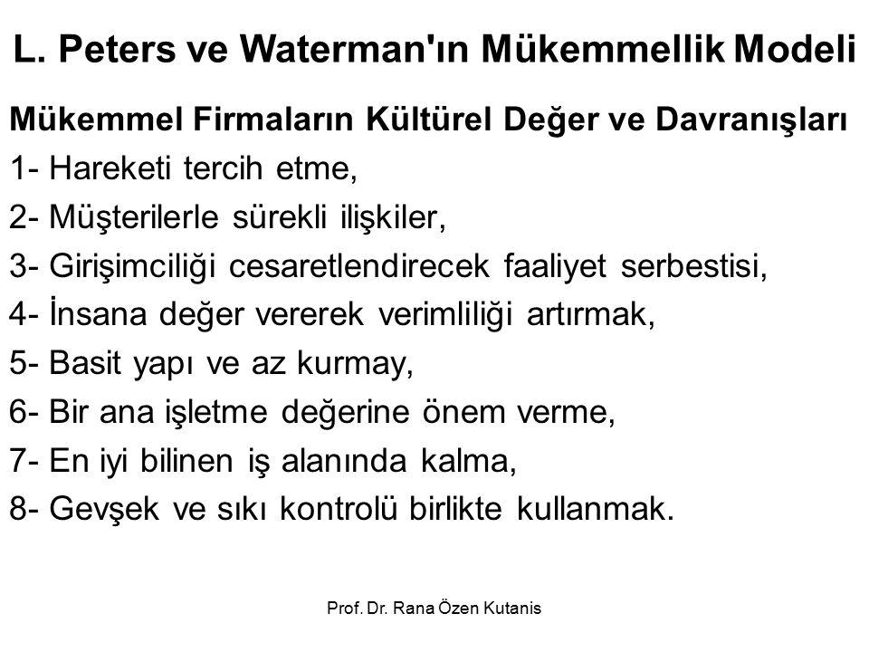 L. Peters ve Waterman ın Mükemmellik Modeli