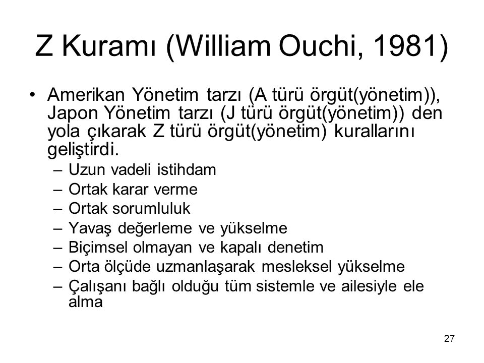 Z Kuramı (William Ouchi, 1981)