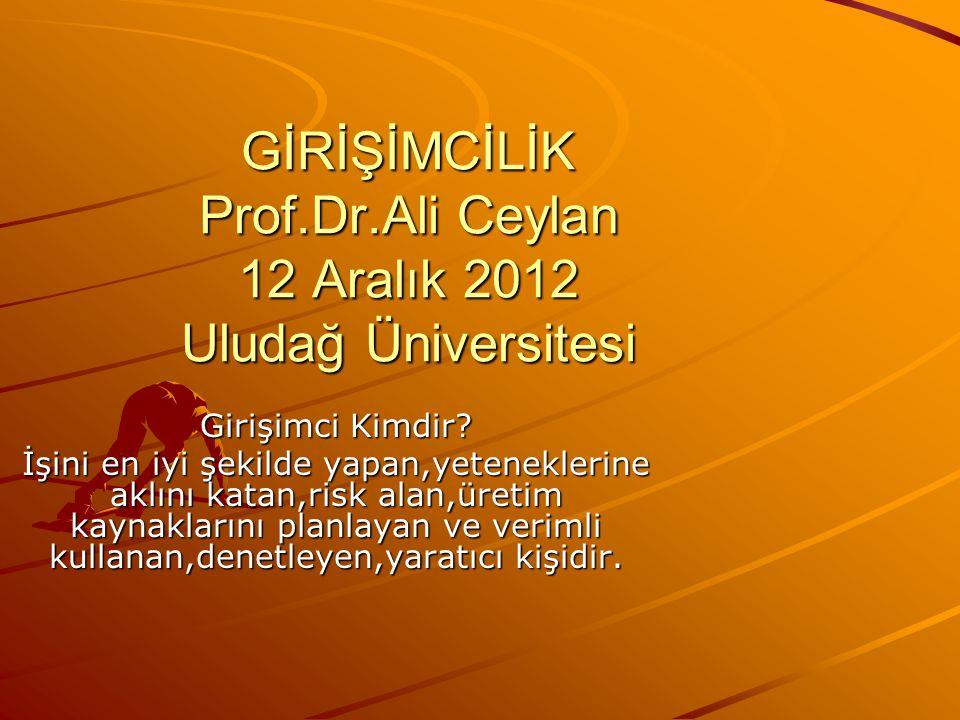GİRİŞİMCİLİK Prof.Dr.Ali Ceylan 12 Aralık 2012 Uludağ Üniversitesi