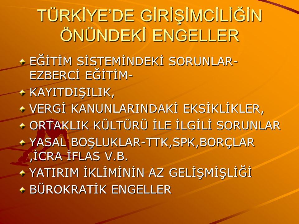 TÜRKİYE'DE GİRİŞİMCİLİĞİN ÖNÜNDEKİ ENGELLER