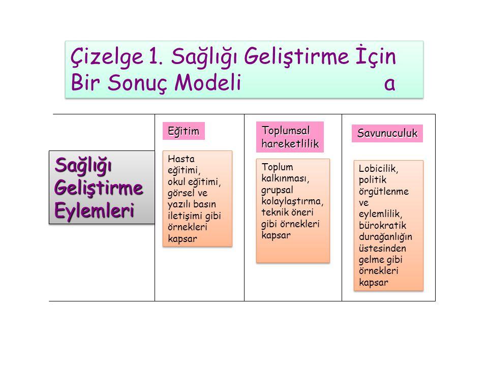 Çizelge 1. Sağlığı Geliştirme İçin Bir Sonuç Modeli a