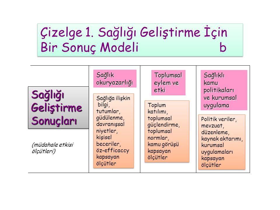 Çizelge 1. Sağlığı Geliştirme İçin Bir Sonuç Modeli b