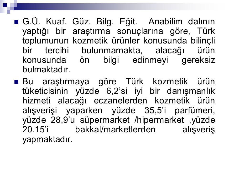 G.Ü. Kuaf. Güz. Bilg. Eğit. Anabilim dalının yaptığı bir araştırma sonuçlarına göre, Türk toplumunun kozmetik ürünler konusunda bilinçli bir tercihi bulunmamakta, alacağı ürün konusunda ön bilgi edinmeyi gereksiz bulmaktadır.