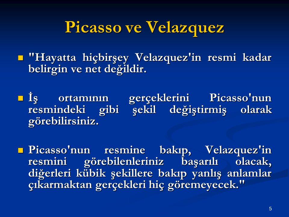Picasso ve Velazquez Hayatta hiçbirşey Velazquez in resmi kadar belirgin ve net değildir.