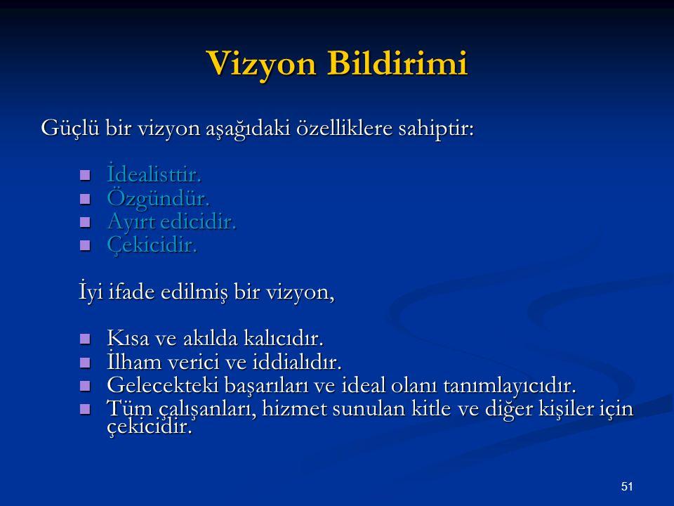 Vizyon Bildirimi Güçlü bir vizyon aşağıdaki özelliklere sahiptir: