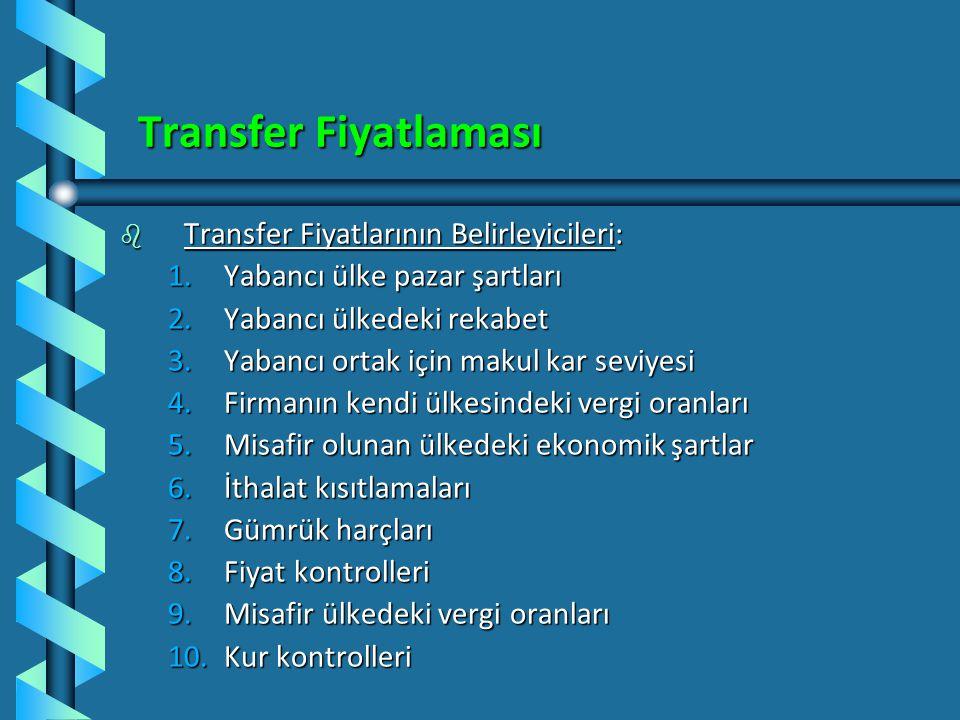 Transfer Fiyatlaması Transfer Fiyatlarının Belirleyicileri: