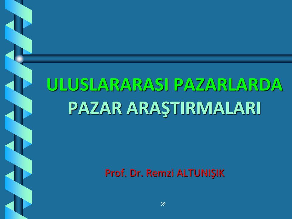 ULUSLARARASI PAZARLARDA PAZAR ARAŞTIRMALARI Prof. Dr. Remzi ALTUNIŞIK