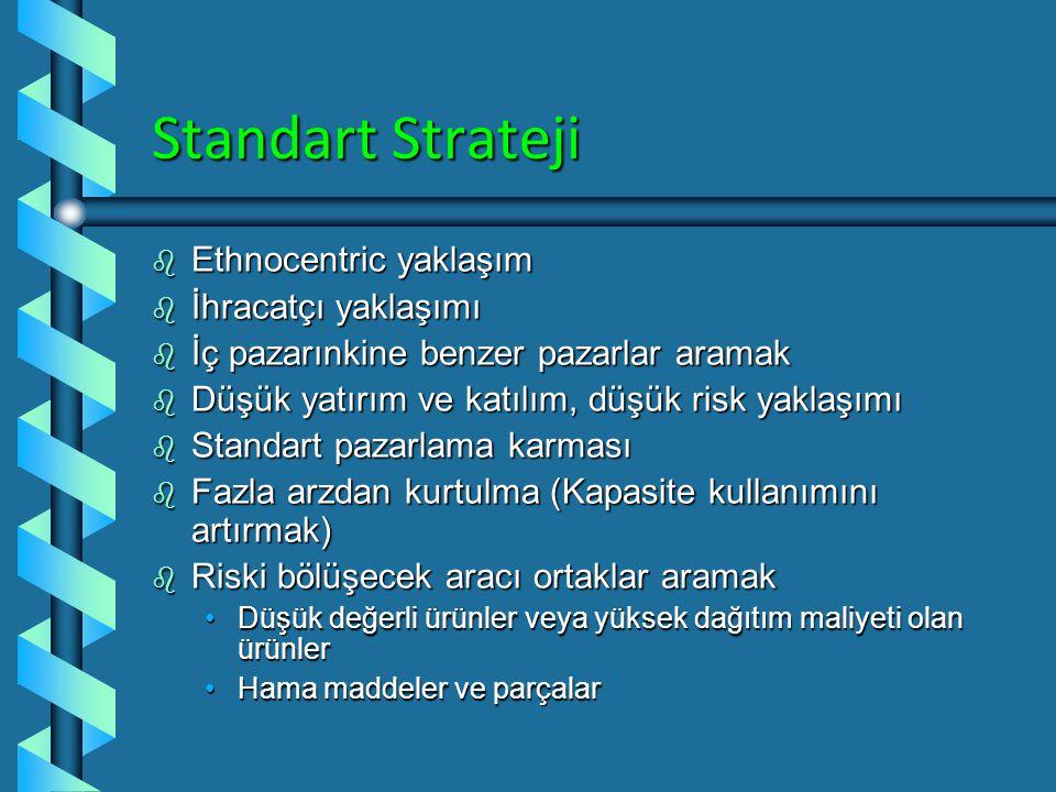 Standart Strateji Ethnocentric yaklaşım İhracatçı yaklaşımı