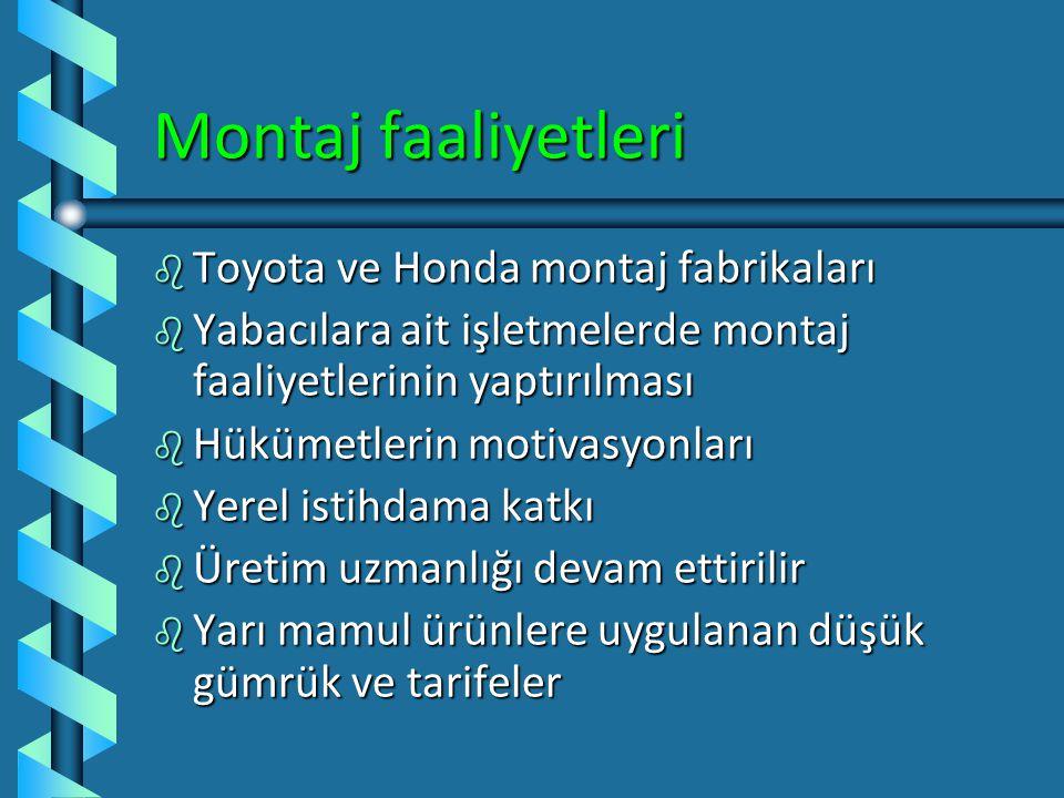 Montaj faaliyetleri Toyota ve Honda montaj fabrikaları