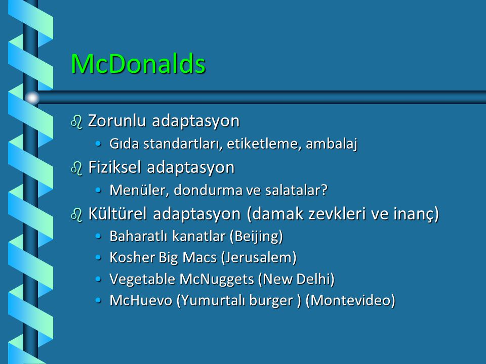 McDonalds Zorunlu adaptasyon Fiziksel adaptasyon