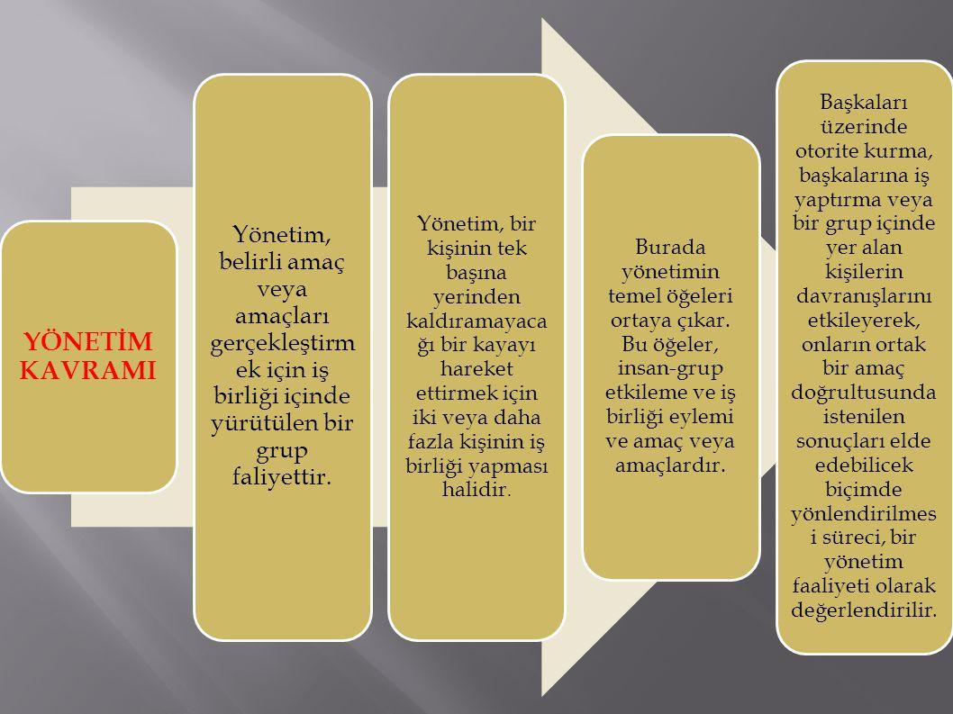 YÖNETİM KAVRAMI Yönetim, belirli amaç veya amaçları gerçekleştirmek için iş birliği içinde yürütülen bir grup faliyettir.