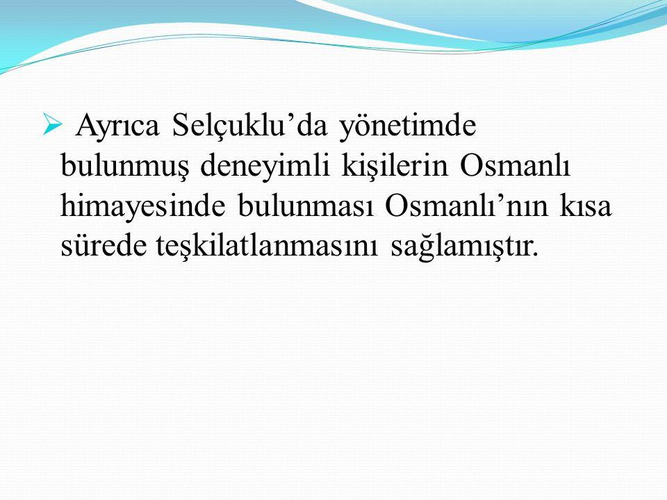 Ayrıca Selçuklu'da yönetimde bulunmuş deneyimli kişilerin Osmanlı himayesinde bulunması Osmanlı'nın kısa sürede teşkilatlanmasını sağlamıştır.