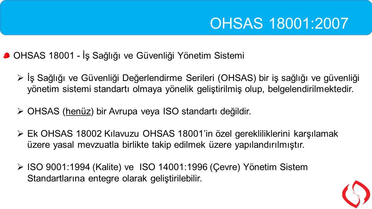 OHSAS 18001:2007 OHSAS 18001 - İş Sağlığı ve Güvenliği Yönetim Sistemi