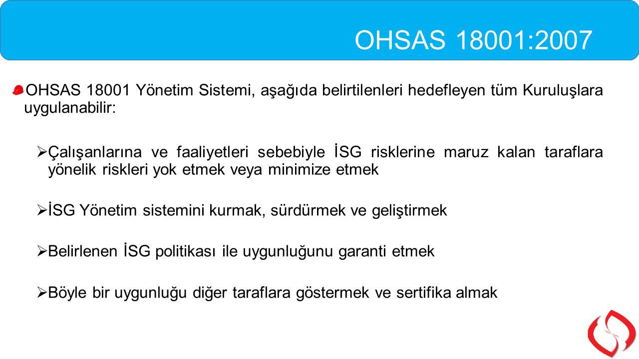 OHSAS 18001:2007 OHSAS 18001 Yönetim Sistemi, aşağıda belirtilenleri hedefleyen tüm Kuruluşlara uygulanabilir: