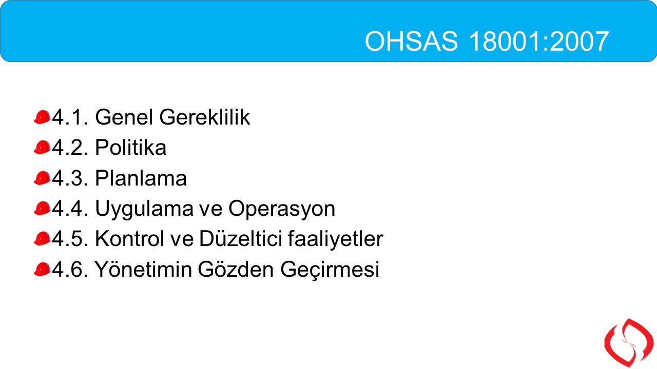OHSAS 18001:2007 4.1. Genel Gereklilik 4.2. Politika 4.3. Planlama